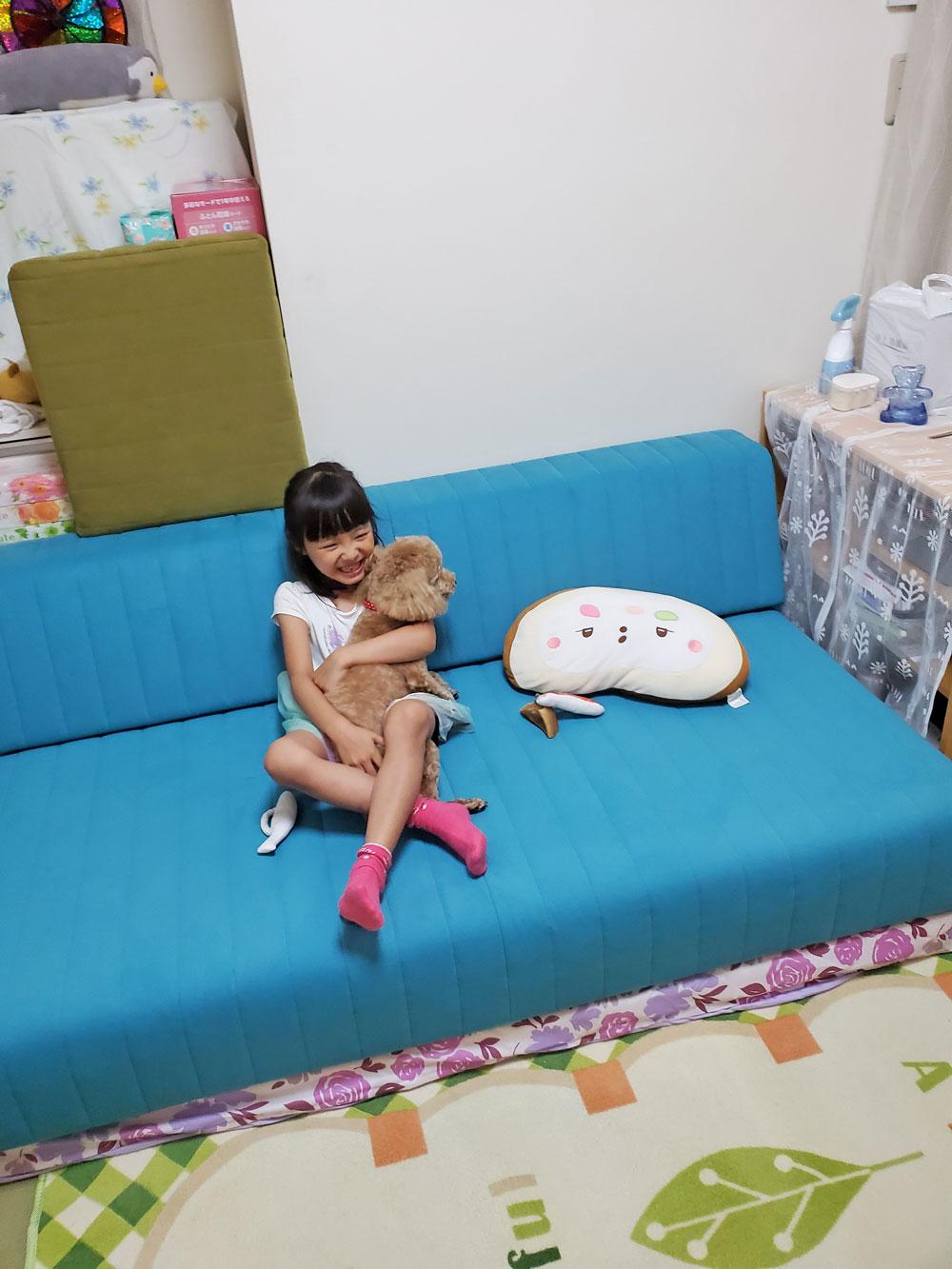 ローソファなら、小型犬も上り下りらくらく♩【国産ローソファ・フロアソファ専門店HAREM】