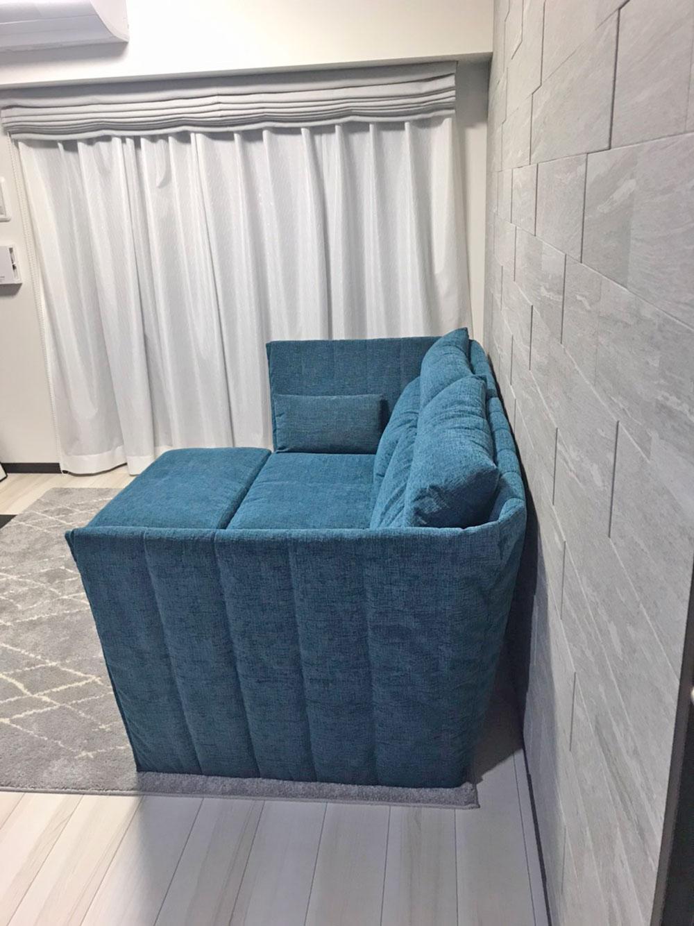 かこみソファ+オットマンでより贅沢な座り心地に。【国産ローソファ・フロアソファ専門店HAREM】