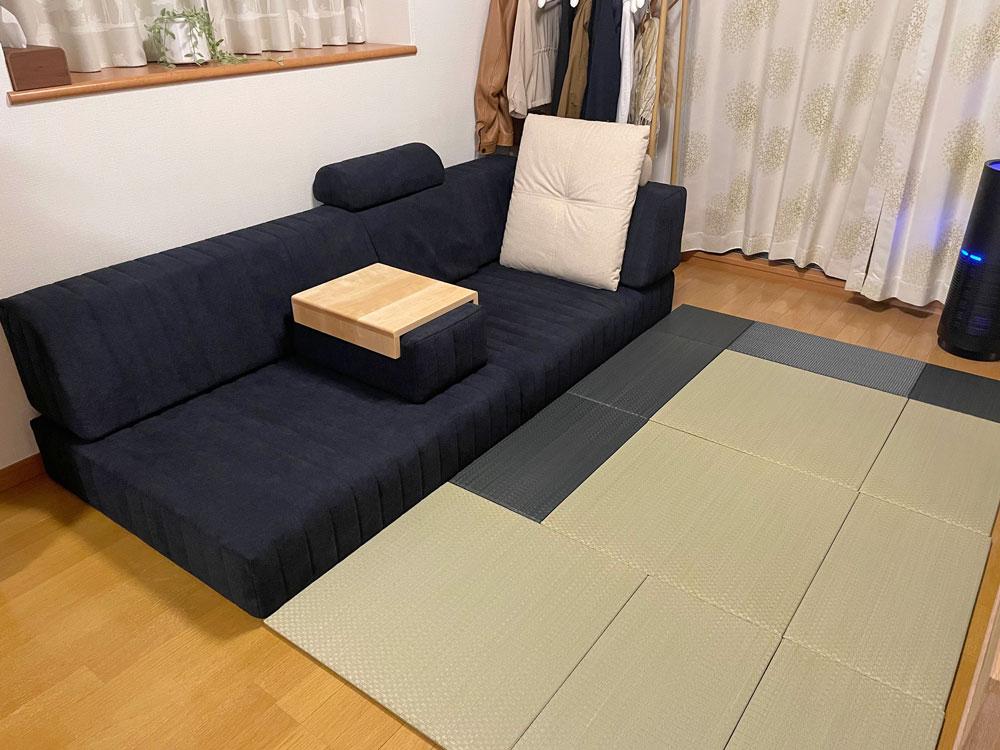 ローソファ+置き畳で、ほっとくつろげる空間に。【国産ローソファ・フロアソファ専門店HAREM】